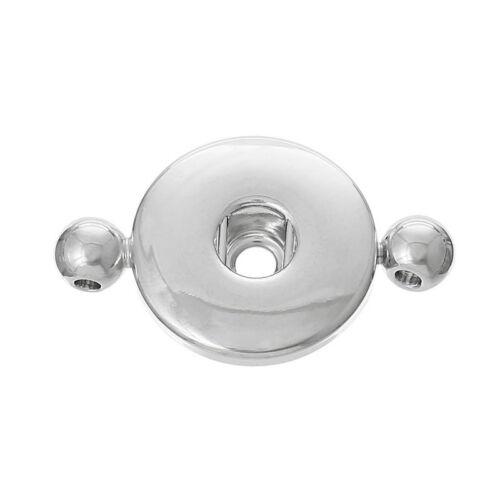 10PCs Connectors Silver Tone Round Fit Snap Buttons 3.1cmx1.9cm HX
