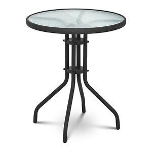 B-Ware Gartentisch Bistrotisch rund 60xH70cm mit geriffelter Glasplatte Schwarz