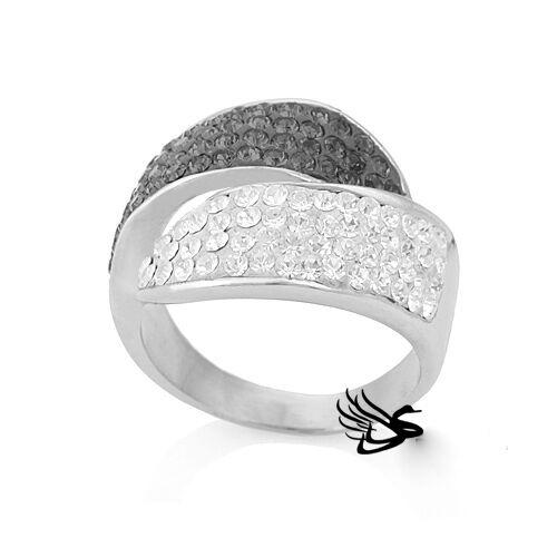Damen Edelstahl  Kristall Ring,breit,elegant,Neu,18mm,Farbe wählbar