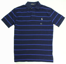 New Mens Polo Ralph Lauren Classic Fit Navy Stripe Mesh Polo Shirt XS