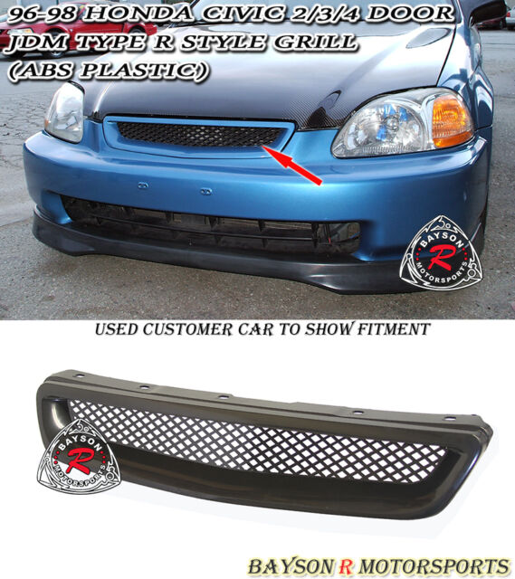 TR-Style Front Hood Grill (ABS) Fits 96-98 Honda Civic