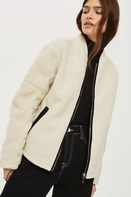 Topshop Borg Wool Blend Shearling Teddy Fur Cocoon Coat Oversize 6 8 10 12 14 16