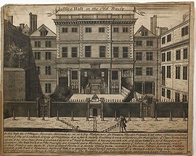 1723 Estampado Justicia Hall En La Vieja Baily Bailey Vista De Antigua Sessions