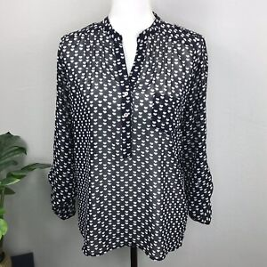 Alice-Blue-for-Stitch-Fix-Womens-Long-Sleeve-Heart-Print-Blouse-Size-Small