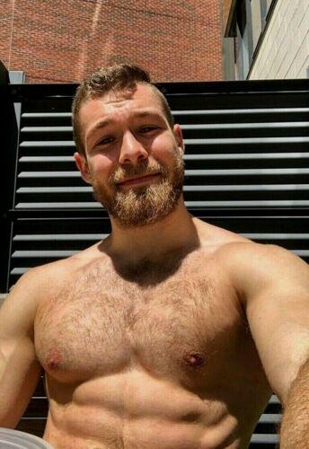 Shirtless Male Beefcake Hunk Muscular Hairy Chest Beard Ginger PHOTO 4X6 G500