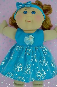 Play-n-Wear-Doll-Clothes-For-14-034-Cabbage-Patch-SNOWFLAKE-TURQUOISE-DRESS-HEADBAND