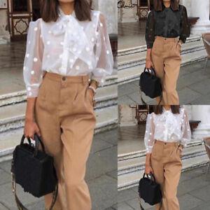 Women Lace Mesh Sheer See-through Buttons Polka Dot 3/4 Sleeve Tops Shirt Blouse