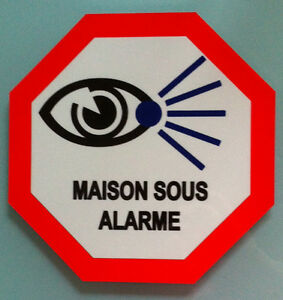 plaque en aluminium signaletique maison sous alarme video surveillance 20x20cm ebay. Black Bedroom Furniture Sets. Home Design Ideas