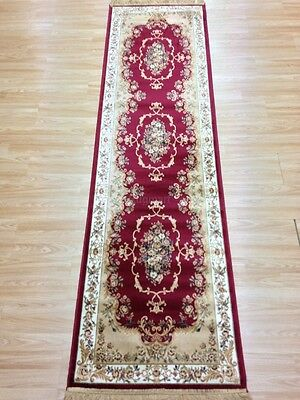 Red Cream Large Silk Like Traditional Persian Design Runner Rug 67x240cm -50%OFF