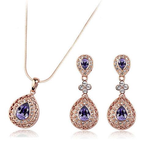 Vintage Teardrop Jewellery Set Gold Deep Purple Drop Earrings Necklace S600