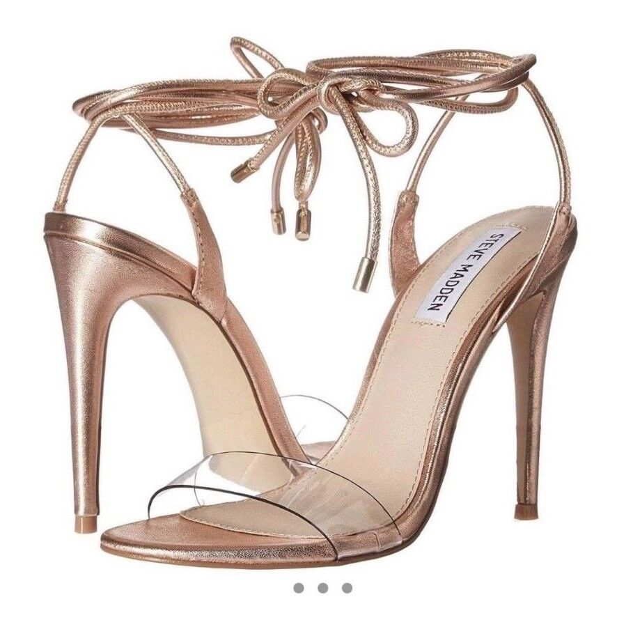 Steve Steve Steve madden leather Gold lace up heeled sandals heels Größe 5 997f36
