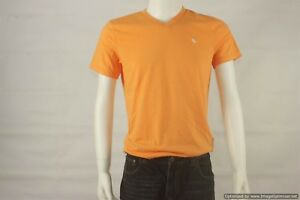 Abercrombie-and-Fitch-Orange-Muscle-Fit-V-Neck-Tee-Shirt-Men-039-s-Size-Small