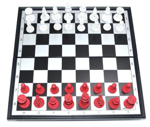 FANCY RED /& BLACK COLOR PIECES WITH INSTRUCTION FOLDING MAGNETIC CHESS BOARD