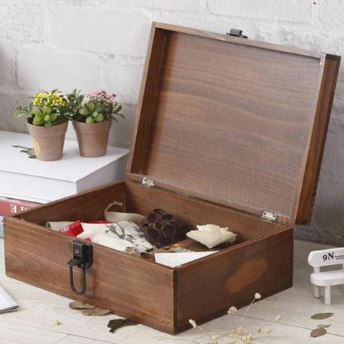 Key storage organiser Rustic Wooden Lockable Diary Box Container Keepsake Case