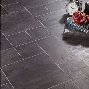 Libretto Black Slate Tile Effect Laminate Flooring 1