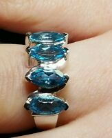 Swiss Bluetopaz 2.47ct.solid Sterling Silver Ring.size N-0 Hallmarked.marquise