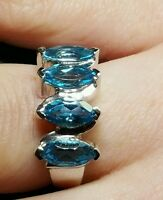 Swiss Bluetopaz 2.47ct.solid Sterling Silver Ring.size L-m Hallmarked.marquise