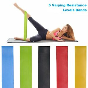 5x Yoga Workout Resistance Stretch Loop Band Fitness Excercise Strength Body Gym