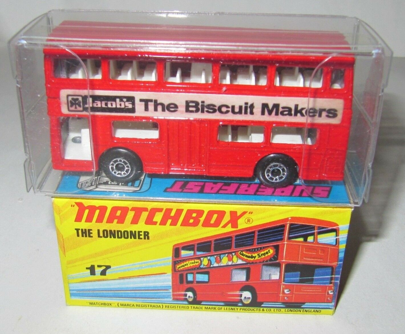 MATCHBOX SUPERFAST No.17 THE THE THE LONDONER BUS 'JACOB'S' 'V RARE' RED BUS MIB 4d2151
