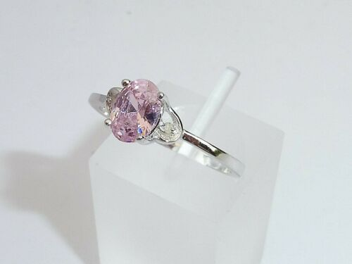 Ladies 925 Solid Fine Silver With Platinum Finish Diamond /& Pink Sapphire Ring