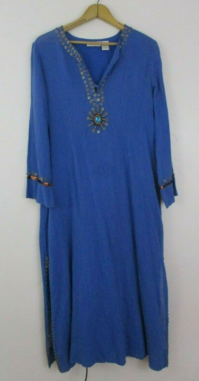 PS Soft Surroundings damen dress beaded tunic cotton Blau AS IS stain petite