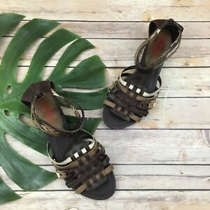 Pikolinos-Women-039-s-Low-Wedge-Sandals-Sz-42-11-5-Brown-Leather-Strappy-Ankle-Strap
