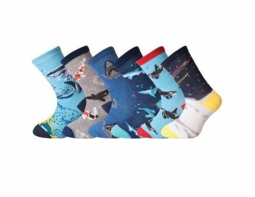 6 Pair Kids Girls Boys Sea Life Socks Space Galaxy Novelty Print All Size