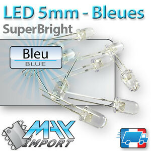 10-a-100-x-LED-Bleues-5mm-Transparentes-Bleu-Blue