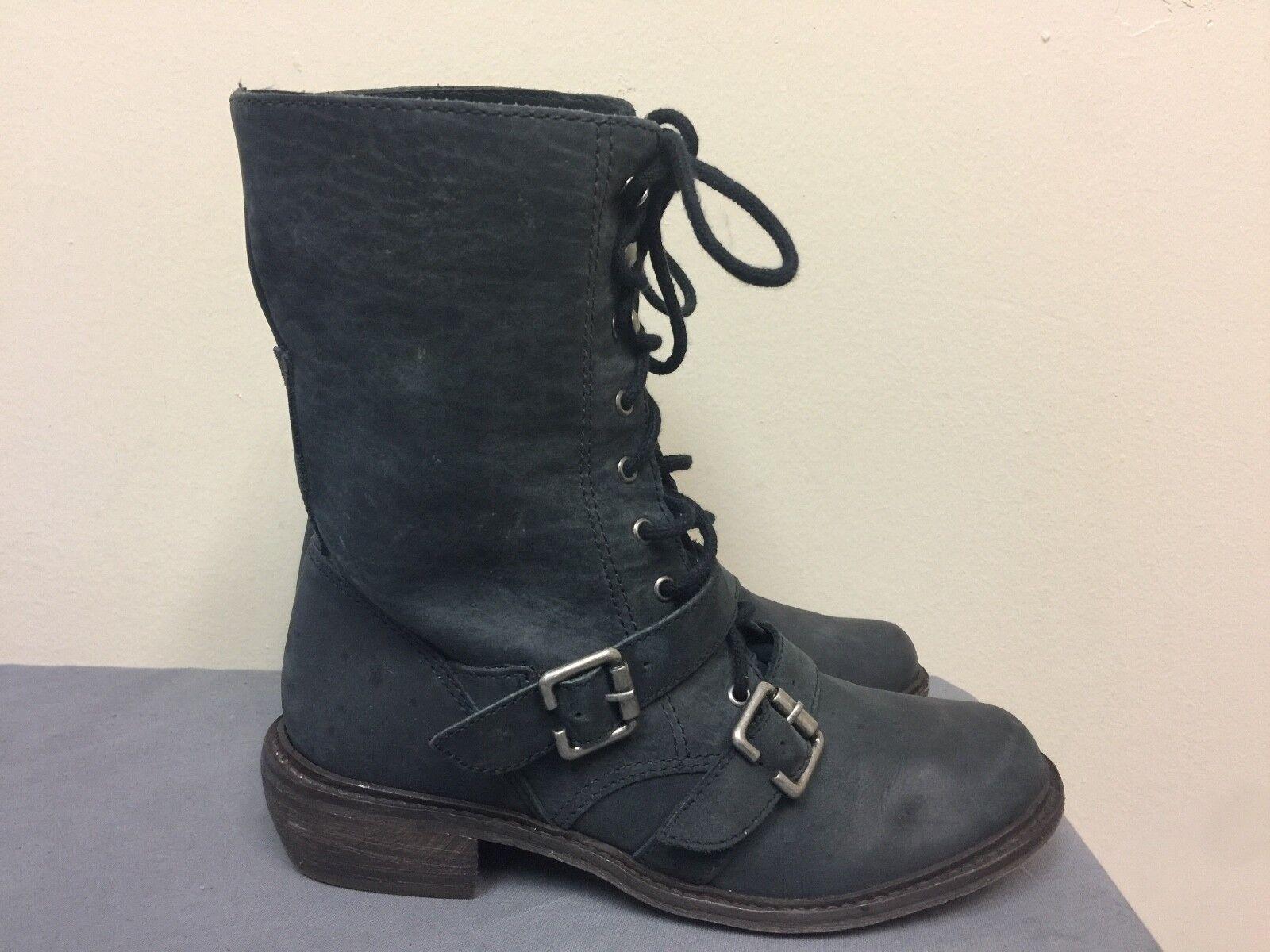 Trouve Women Gray leather lace up combat boots SIZE 6.5M