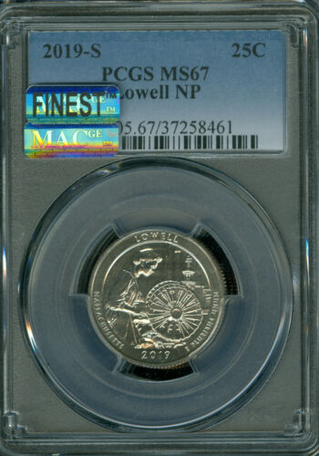 2019-S LOWELL QUARTER PCGS MS-67 PQ FINEST GRADE SPOTLESS 8 X RARER THAN A  W.