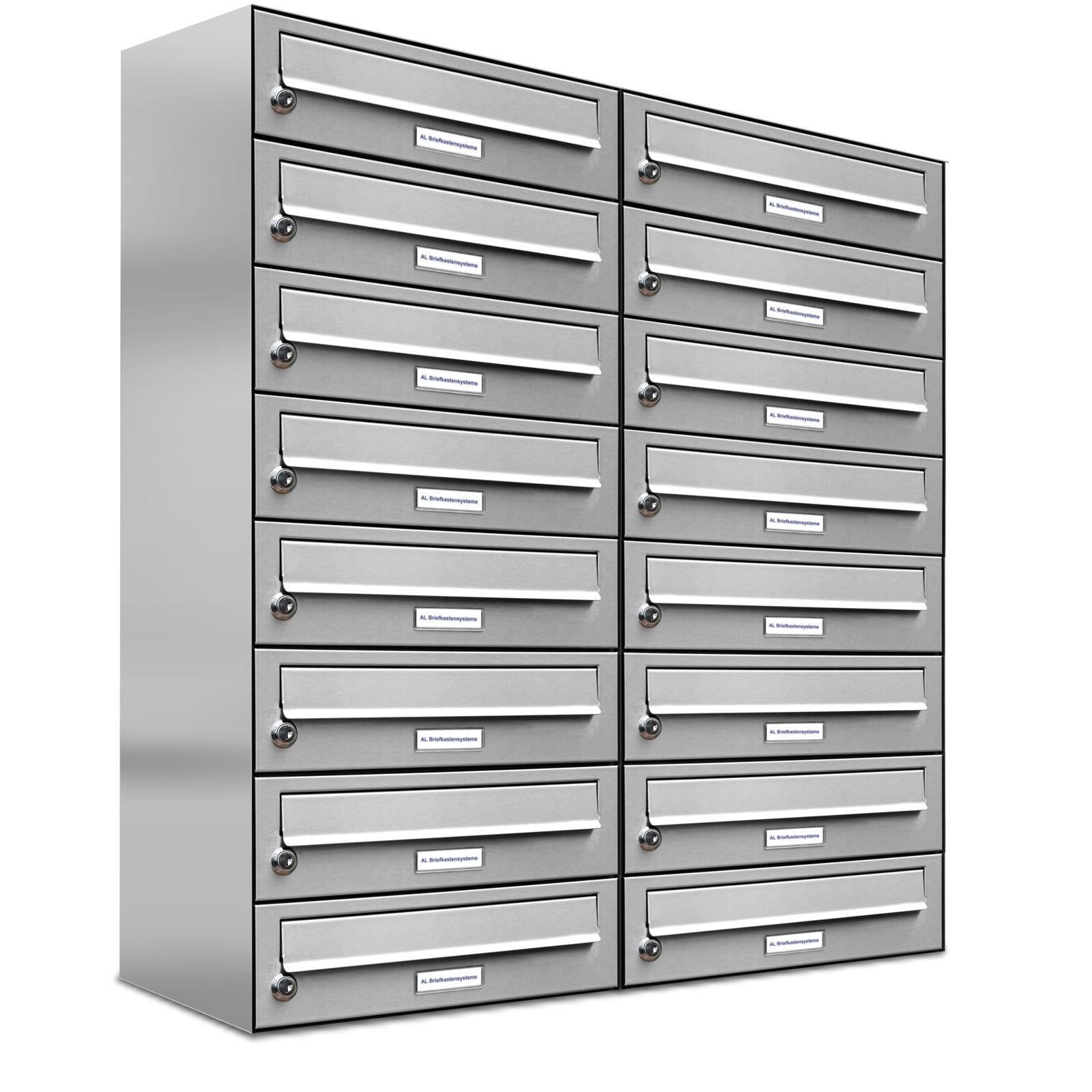 16er Premium Edelstahl Briefkasten Anlage 16 Fach Wandbriefkasten A4 Postkasten