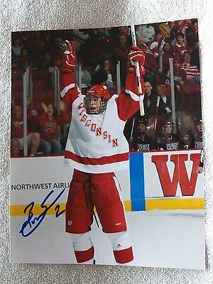 Detroit Red Wings Brendan Smith Signed Wisconsin Badgers 8x10 Photo Auto