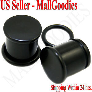 "0936 Black Acrylic Single Flare Ear Plugs 7/16"" Inch 11mm MallGoodies One 1 Pair"