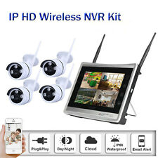"""12""""LCD HD 4CH WIFI Wireless 960P CCTV Camera Security System Monitor NVR IP66"""