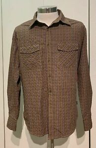 Kuhl-Men-s-Button-Up-Flannel-Shirt-Brown-Plaid-Long-Sleeve-Size-Medium