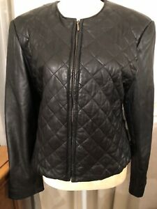 Faux-Designer-Preston-amp-York-Diamond-Quilted-Blk-Lamb-Skin-Jacket-Wmn-s-Medium
