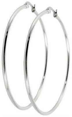 Titan Titanium Klappcreolen Kreolen Ohrringe Silber Damen Zirkonia große schmale