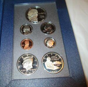 1993-Prestige-Proof-Set-U-S-Mint-COA-Box-7-coin-Bill-of-Rights-Silver-Dollar