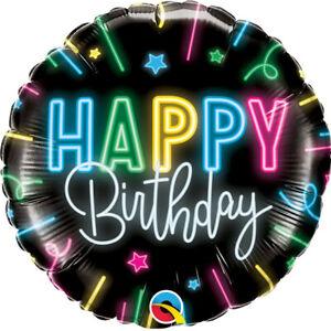 Qualatex Feliz Cumpleaños Neón Brillo 45.7cm Globo Metalizado