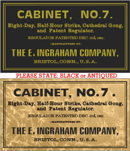 ANTIQUE CLOCK   E.INGRAHAM CO. LABEL CABINET NO. 7 add model name parts