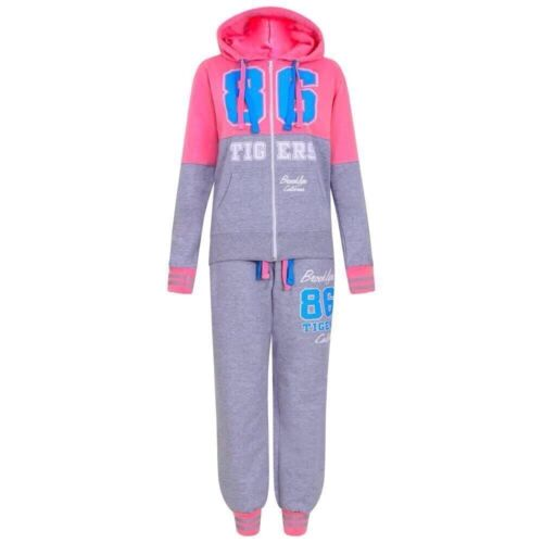 NEW GIRLS 86 TIGERS TRACKSUIT GIRLS HOODIE POCKET SUIT GIRLS JOGGERS AGES 7-13
