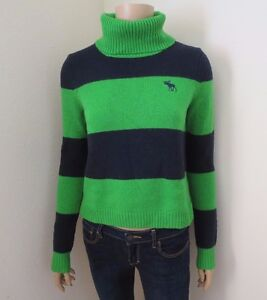 NEW Abercrombie Womens Striped Turtleneck Sweater Size XS Top ...