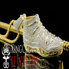 Real Diamond Mens Jumpman Jordan 23 Shoe Pendant 1.5 inch 10K Yellow Gold Finish