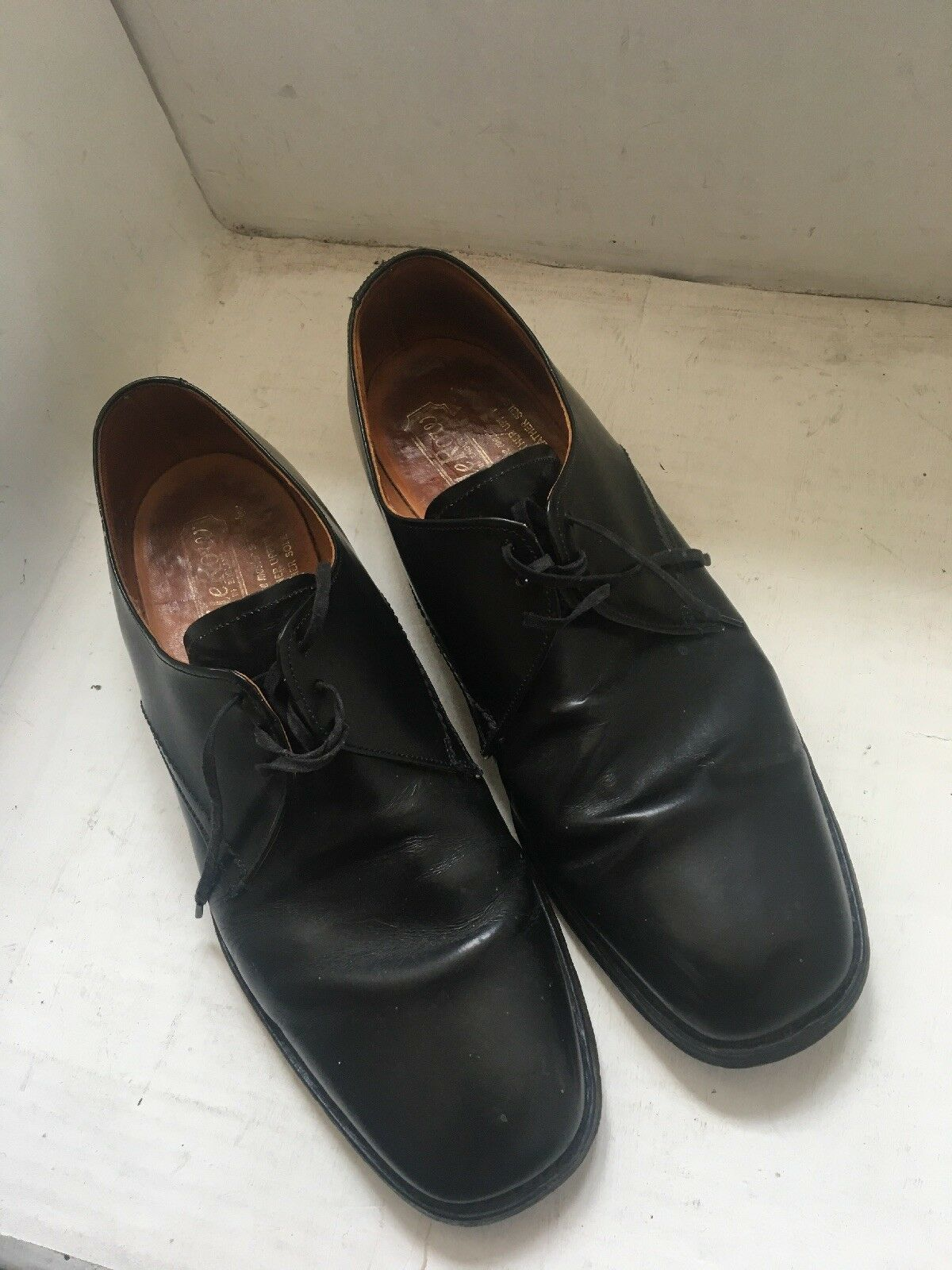 Saville Row Leather Upper And Soles Mens shoes Black Size UK 9.5