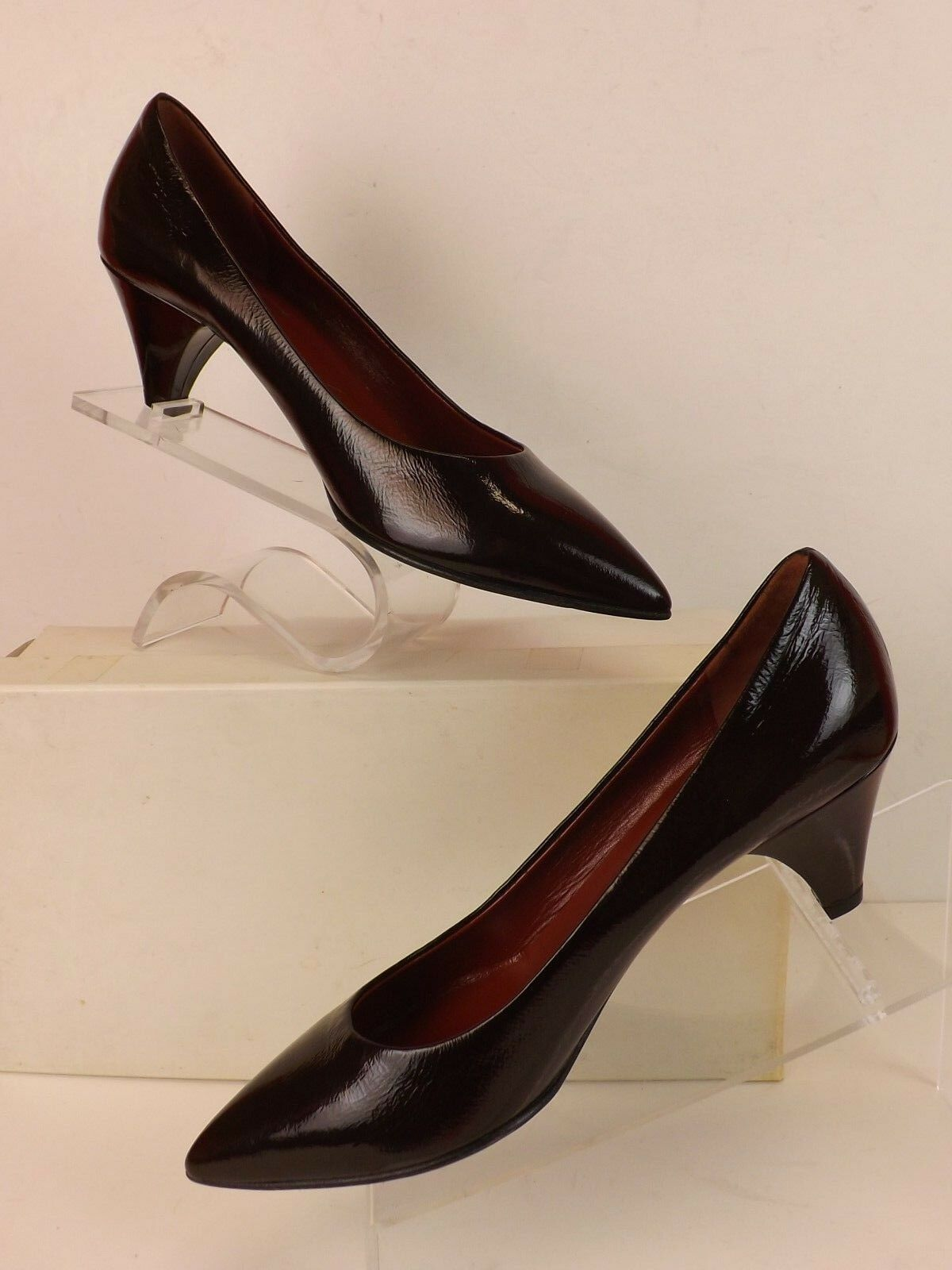 NEW MARC BY MARC JACOBS DARK BURGUNDY LEATHER LOW HEEL CLASSIC PUMPS 39.5 ITALY