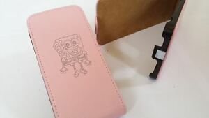 Samsung-Galaxy-S2-i9100-SPONGEBOB-SQUAREPANTS-LEATHER-pink-flip-phone-case-cover