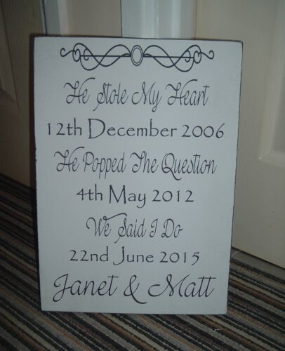 shabby and chic vintage wedding HE STOLE HEART WE SAID I DO sign plaque large