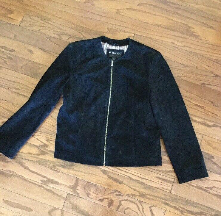 BERNARDO NORDSTROM Womens Genuine SUEDE Leather BLACK ZIP Jacket Lined