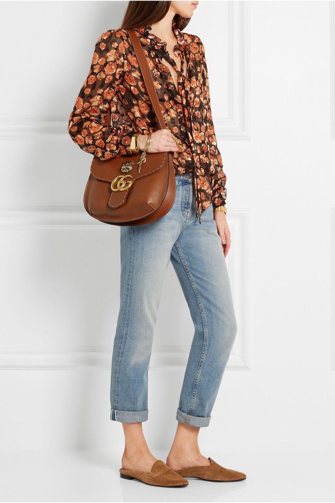 d6f545e53284 Gucci Animalier GG Marmont Leather Shoulder Bag Brown Tiger Handbag ...