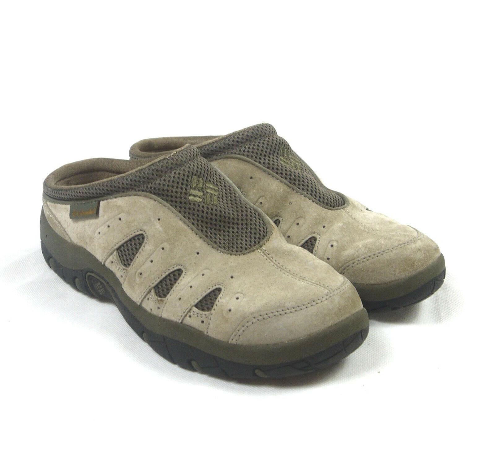 Columbia ATSA Women's Tan Suede Leather Clogs Size 8.5